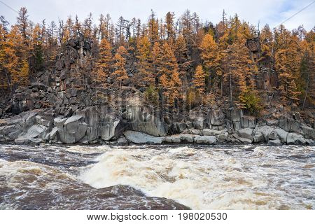 Rocky coast on the Siberian taiga river in the fall. Riverbed Moiyero in September during the rafting and fishing for Siberian taimen. Waterfall water threshold larch Evenkia Krasnoyarsk region Russia