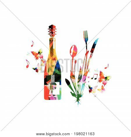 Cutlery set, spoon, fork and knife with wine bottle and guitar isolated vector illustration. Colorful tableware design for restaurant poster, restaurant menu, wine tasting, music events
