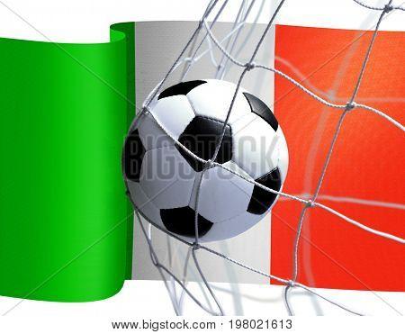 soccer ball in goal net on Italian flag background
