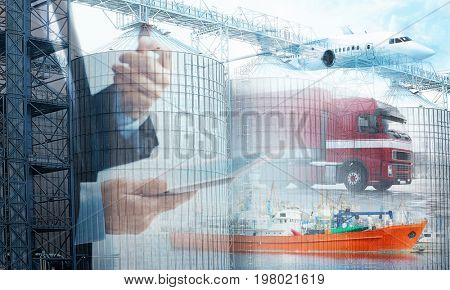 Multi exposure of grain elevators, businessman with tablet and different kinds of transport. Wholesale and logistic concept