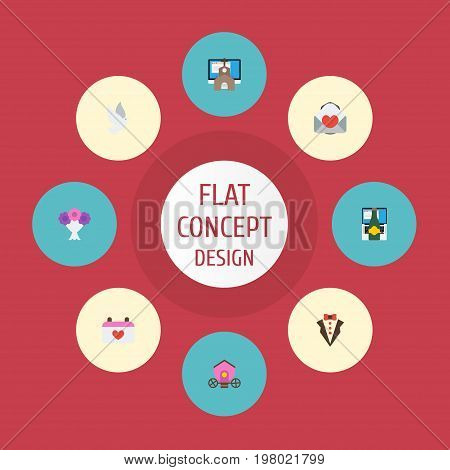 Flat Icons Bridegroom Dress, Pigeon, Calendar And Other Vector Elements