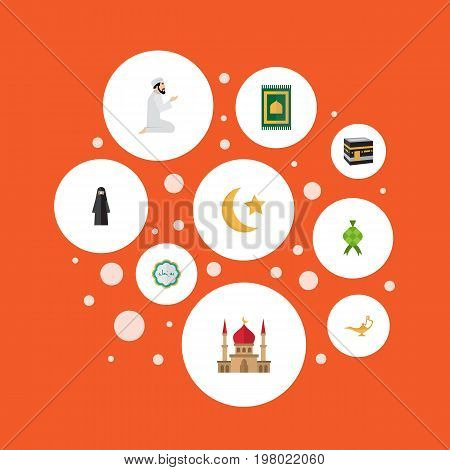 Flat Icons New Lunar, Malay, Praying Man And Other Vector Elements