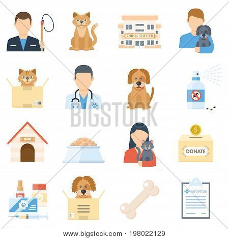 Animal shelter set. Adopting a homeless pet poster, volunteering with dogs and cats. Vector flat style illustration isolated on white background