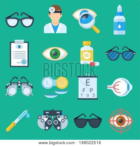 Eye doctor cartoon set. Ophthalmologist and optometrists service, health care specialis poster. Vector flat style illustration isolated on green background