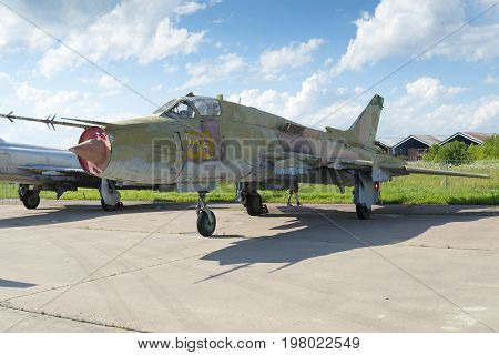 Russian Military Fighter Aircraft At The International Exhibition.