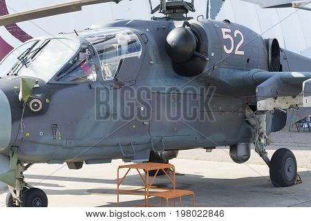 Russian Military Helicopters At The International Exhibition.
