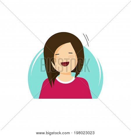 Happy girl vector illustration, flat cartoon smiling woman, young female person character in happiness of fun isolated on white background