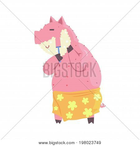 Cartoon swine with shaving cream on his face and razor in hand, pig shaving his face colorful character, animal grooming vector Illustration on a white background