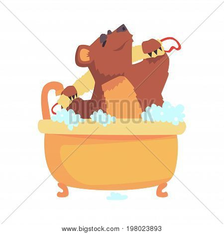 Cute cartoon bear taking a bath washing its body with washcloth, brown bear washing in foamy bathtub colorful character, animal grooming vector Illustration on a white background