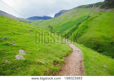 Way to Scafell pike, the highest mountain in England, Lake District National Park, England, selective focus