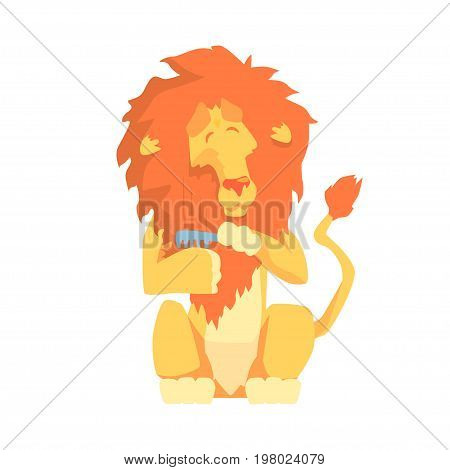 Cute cartoon lion combing its mane colorful character, animal grooming vector Illustration on a white background