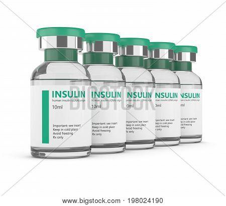 3D Rendering Of Insulin Vials Over White