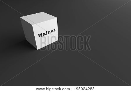 3D RENDERING WORD Walnut WRITTEN ON WHITE CUBE WITH BLACK PLAIN BACKGROUND