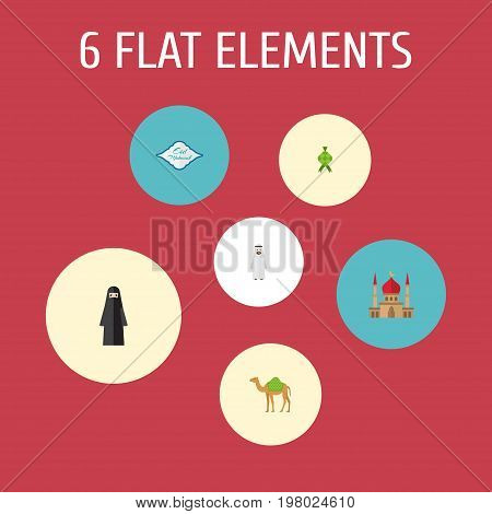 Flat Icons Minaret, Muslim Woman, Arabian And Other Vector Elements