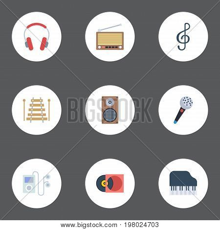 Flat Icons Octave Keyboard, Quaver, Mp3 Player And Other Vector Elements