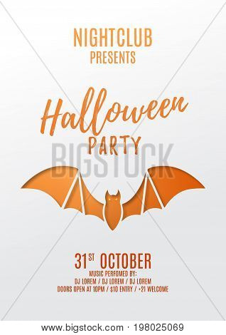 Halloween party flyer design. Paper art style vector illustration. Festive card with bat. Invitation to nightclub.