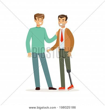 Meeting of friends, two men talking, one man with leg prosthesis, healthcare assistance and accessibility colorful vector Illustration on a white background