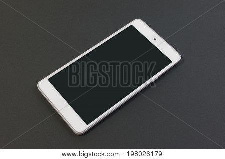 Classic Mobile Phone On Black Background. Modern Technology Smart Phone Isolated On Black Background