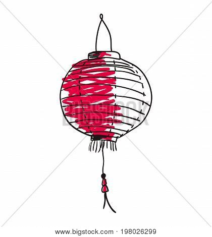 Paper lantern hand drawn icon isolated on white background vector illustration. Japan ethnic culture element.