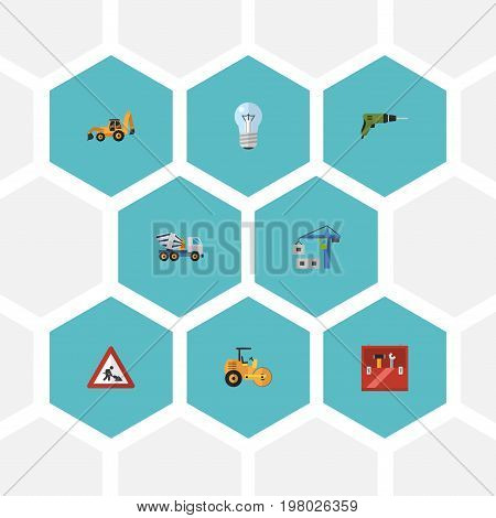 Flat Icons Bulb, Hoisting Machine, Steamroller And Other Vector Elements