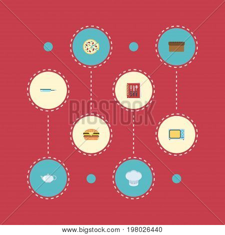 Flat Icons Skillet, Pepperoni, Teapot And Other Vector Elements