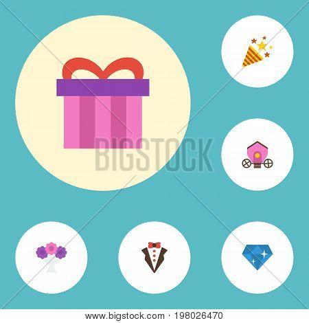 Flat Icons Brilliant, Bridegroom Dress, Present And Other Vector Elements