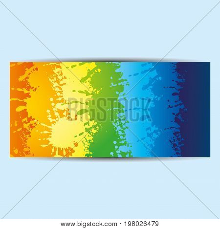 Colorful rainbow flyer, booklet, brochure on a blue background.
