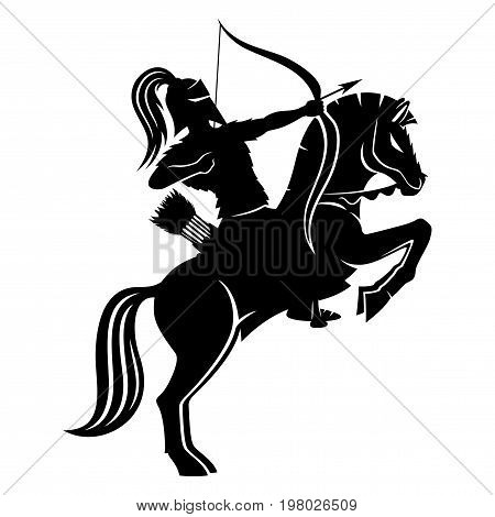 Warrior archer on horseback on a white background.