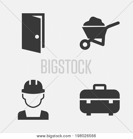 Building Icons Set. Collection Of Carry Cart, Engineer, Equipment And Other Elements