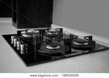 Modern stylish kitchen gas stove