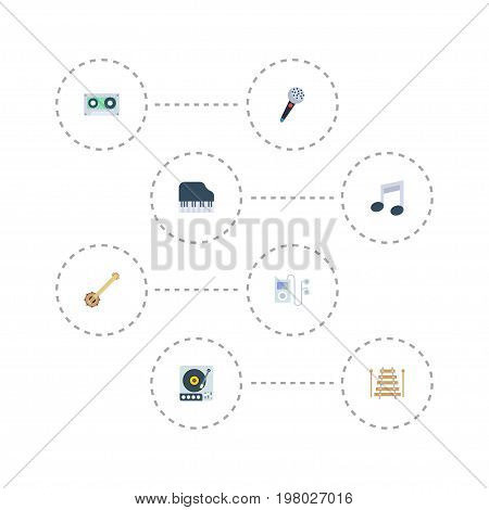 Flat Icons Mp3 Player, Turntable, Octave Keyboard And Other Vector Elements
