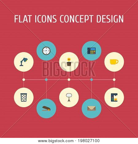 Flat Icons Plant Pot, Puncher, Tea And Other Vector Elements