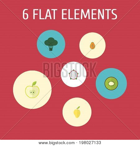Flat Icons Jonagold, Exotic Dessert, Cabbage And Other Vector Elements
