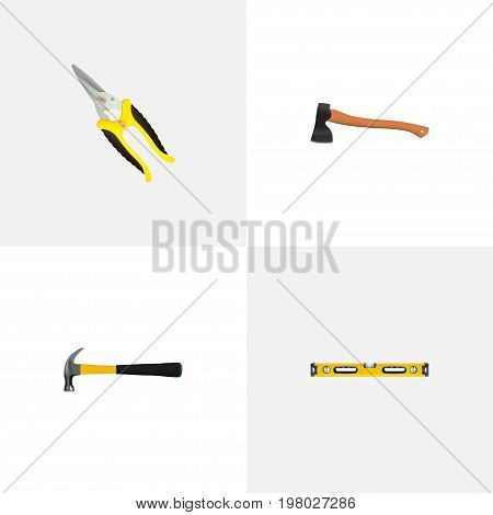 Realistic Hatchet, Plumb Ruler, Claw And Other Vector Elements