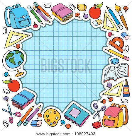 bunner cell sheet in cage with set of different school things bag apple vector illustration