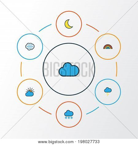 Air Colorful Outline Icons Set. Collection Of Tempest, Rainbow, Clouded And Other Elements