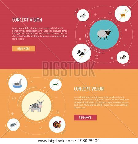 Flat Icons Camelopard, Horse, Waterbird And Other Vector Elements