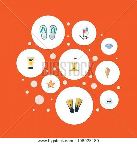 Flat Icons Sailboard, Slippers, Swimming And Other Vector Elements