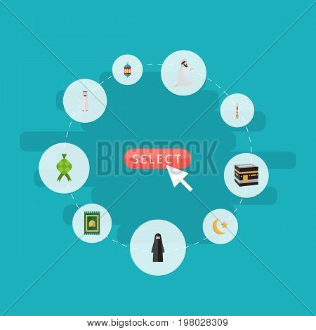 Flat Icons Prayer Carpet, Muslim Woman, Islamic Lamp And Other Vector Elements