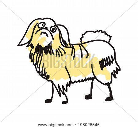 Pekingese dog hand drawn icon isolated on white background vector illustration. Japan ethnic culture element.