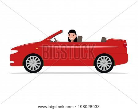 Vector illustration of a cartoon girl riding in a red car cabriolet. Isolated white background. A beautiful woman sitting alone in a car cabriolet. Flat style. Auto convertible with a character.