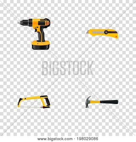 Realistic Electric Screwdriver, Claw, Stationery Knife And Other Vector Elements