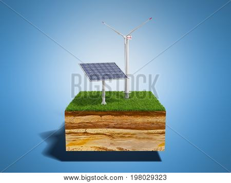 Concept Of Alternative Energy 3D Illustration Of Cross Section Of Ground With Grass Isolated On Blue