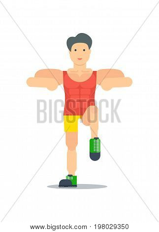 Sporty boy doing exercise isolated on white background vector illustration. Bodybuilding or crossfit training concept in flat design.