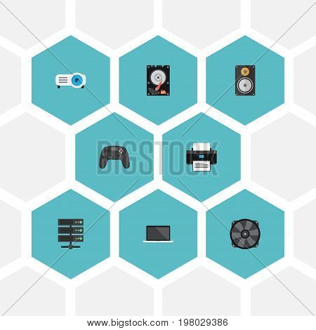 Flat Icons Amplifier, Datacenter, Hard Disk And Other Vector Elements
