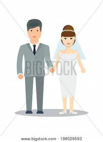 Happy young newlywed couple icon vector illustration isolated on white background. Happy bride and groom couple. People relationship, family concept in flat design.