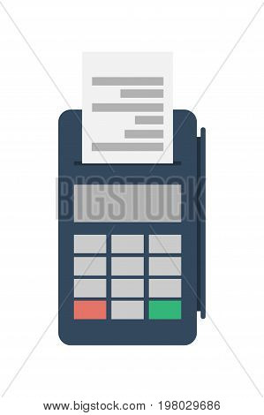 Credit card terminal for supermarket icon. Retail pos terminal isolated vector illustration.