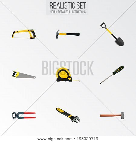 Realistic Claw, Length Roulette, Carpenter And Other Vector Elements
