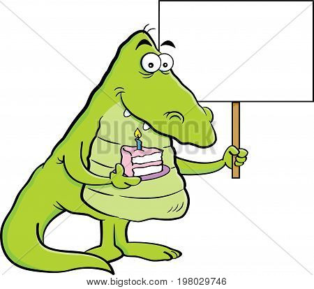 Cartoon illustration of an alligator holding a piece of cake and a sign.