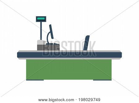 Cash desk with computer terminal in supermarket icon. Retail counter isolated vector illustration.